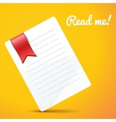 Paper with bookmark on orange background vector
