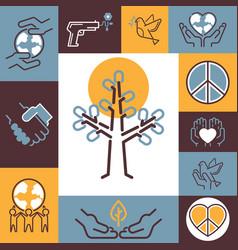 peace symbols collage fine vector image