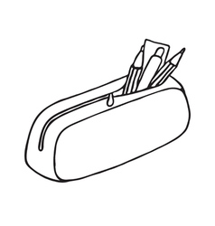 Pencil case icon Outlined vector