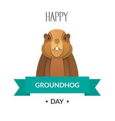 Poster happy groundhog day vector