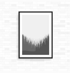 realistic frame on light grunge brick wall vector image