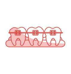 Red shading silhouette cartoon set gum with tooth vector