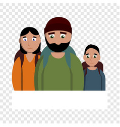 sad homeless family icon cartoon style vector image