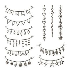set hand drawn garlands vector image