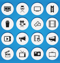 Set of 16 editable movie icons includes symbols vector