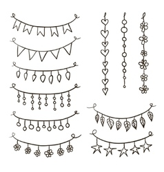 Set of hand drawn garlands vector