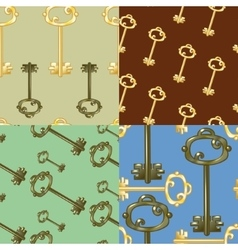Set of seamless patterns with gold keys vector