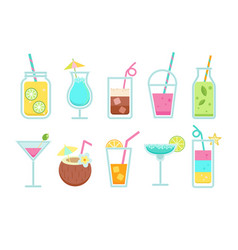 set summer non-alcoholic and alcoholic drinks vector image