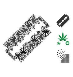 Shaving razor blade composition of marijuana vector