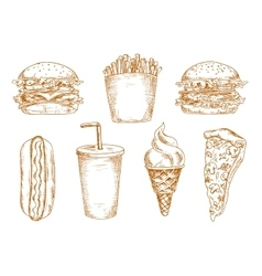 Sketches of fast food snacks vector image