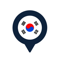 South korea flag and map pointer icon national vector