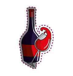 Sticker glass splashing and bottle of wine icon vector