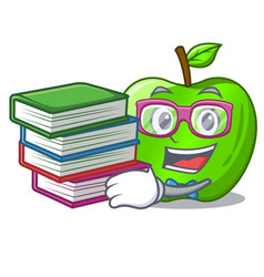 Student with book green smith apple isolated on vector