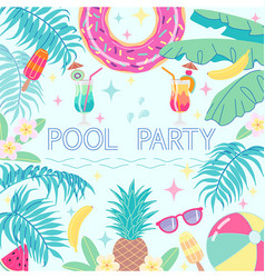 Summer background card template for pool party vector