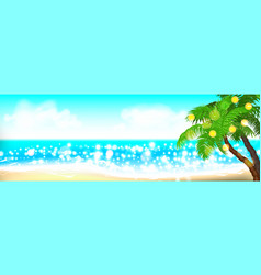 summer time seashore palm landscape vector image