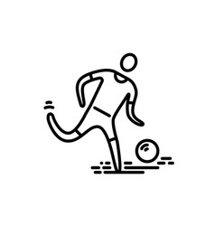 Thin line icon football soccer player vector