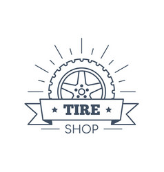 Tire and wheel service badge design stock vector