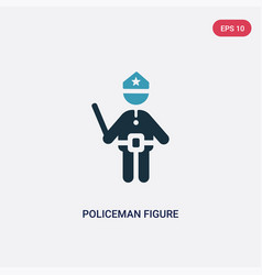 Two color policeman figure icon from people vector