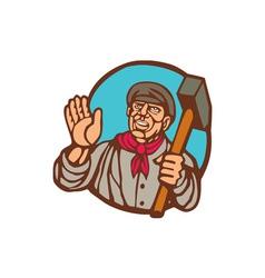 Union worker with sledgehammer linocut vector
