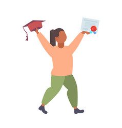 woman graduate holding cap and diploma certificate vector image