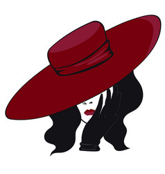 woman in a hat in black and red colors isolated vector image