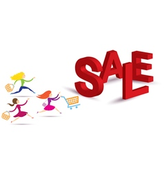 Women Hurry Run to Sale Text vector