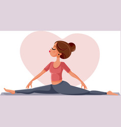 yoga woman doing splits exercising on mat vector image