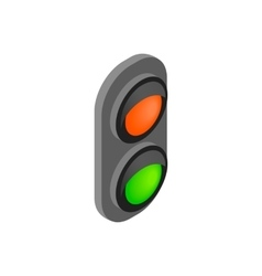 Railway traffic light isometric 3d icon vector image vector image