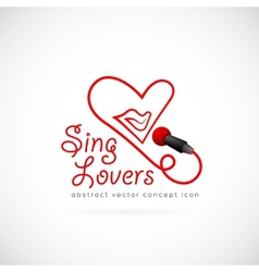 Sing lovers abstract symbol icon vector image