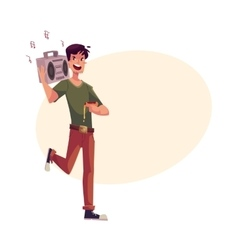Young man dancing at party with tape recorder on vector image