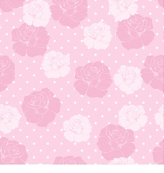 Floral pattern pink roses white polka dots vector image