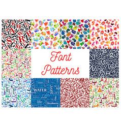 font seamless patterns with letter and number vector image vector image