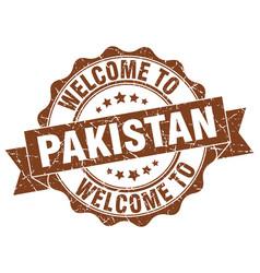 pakistan round ribbon seal vector image vector image