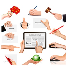 Set of hands holding vector image vector image