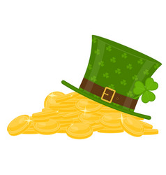 st patricks hat on gold pile vector image vector image