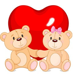 Teddy bears in love vector image vector image