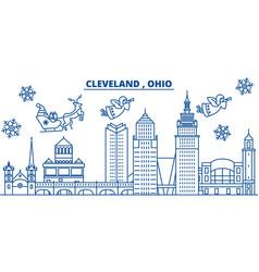 usa ohio cleveland winter city skyline merry vector image