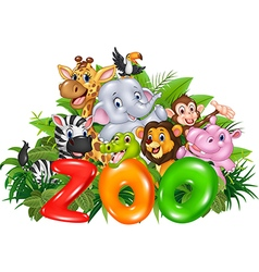 Word zoo with cartoon wild animal vector image vector image