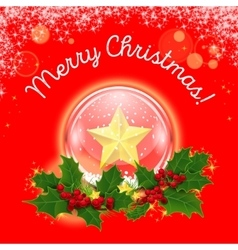 Christmas crystal ball in a wreath of vector image