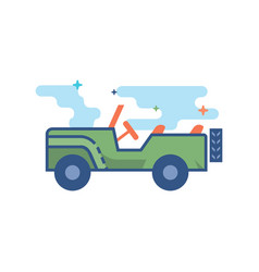 flat color icon - military vehicle vector image