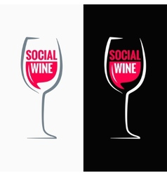 wine glass social media concept background vector image vector image