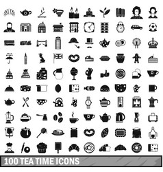 100 tea time food icons set in simple style vector