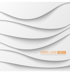 Abstract white waved paper layers with drop vector image