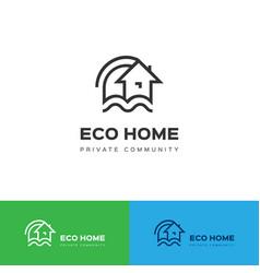 eco home logo eco house icon concept vector image