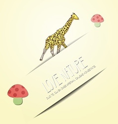With nature and giraffe vector