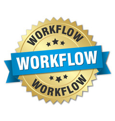 workflow round isolated gold badge vector image vector image