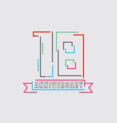 18th years anniversary logo birthday celebration vector