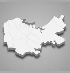 3d isometric map haifa is a city israel vector