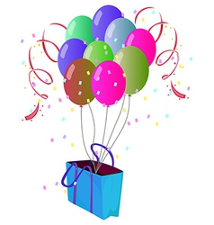 A paper bag with balloons vector