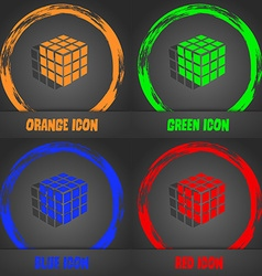 A three sided cube puzzle box in 3D icon vector